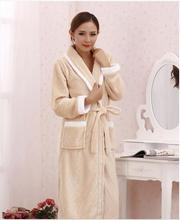 2014 new thick flannel nightgown pajamas men and ladies mink piece velvet bathrobe #5501(China (Mainland))
