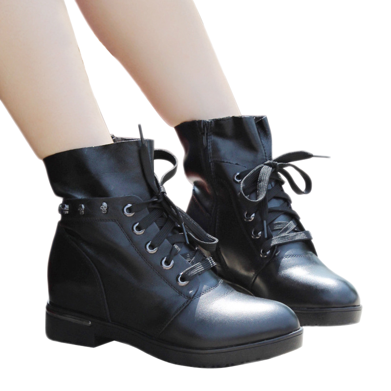 Women Boots Classic Motorcycle Boots Martin Boots 2015 New Ankle Boots Black Genuine Leather Boots Winter Waterproof Women Shoes<br><br>Aliexpress