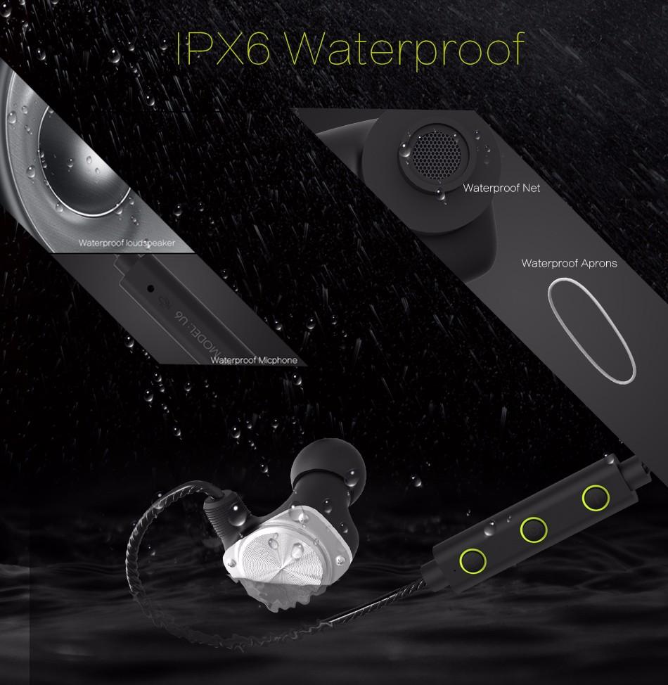 MIFO U6 Newest Wireless Bluetooth Headphone Sport Earphone Headset Bluetooth Waterproof HiFi Stereo APT-X A2DP With mic