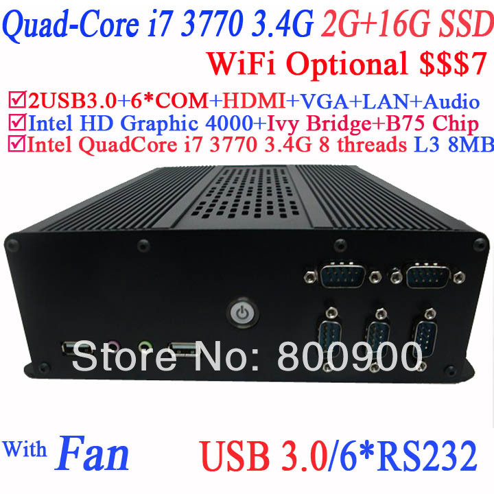 tiny pc desktop computers with B75 Express Chipset Intel quad-core i7 3770 3.4Ghz eight threads CPU 2G RAM 16G SSD Windows Linux<br><br>Aliexpress