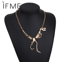 Buy IF ME New Arrival Punk Style Dinosaur Skeleton Necklaces Gold Color Long Necklace Silver Color Women Cute Jewelry Collares Mujer for $1.25 in AliExpress store