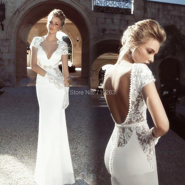 Wedding Dress Long Sleeve Backless : Wedding dress v neck short sleeve backless lace long bridal