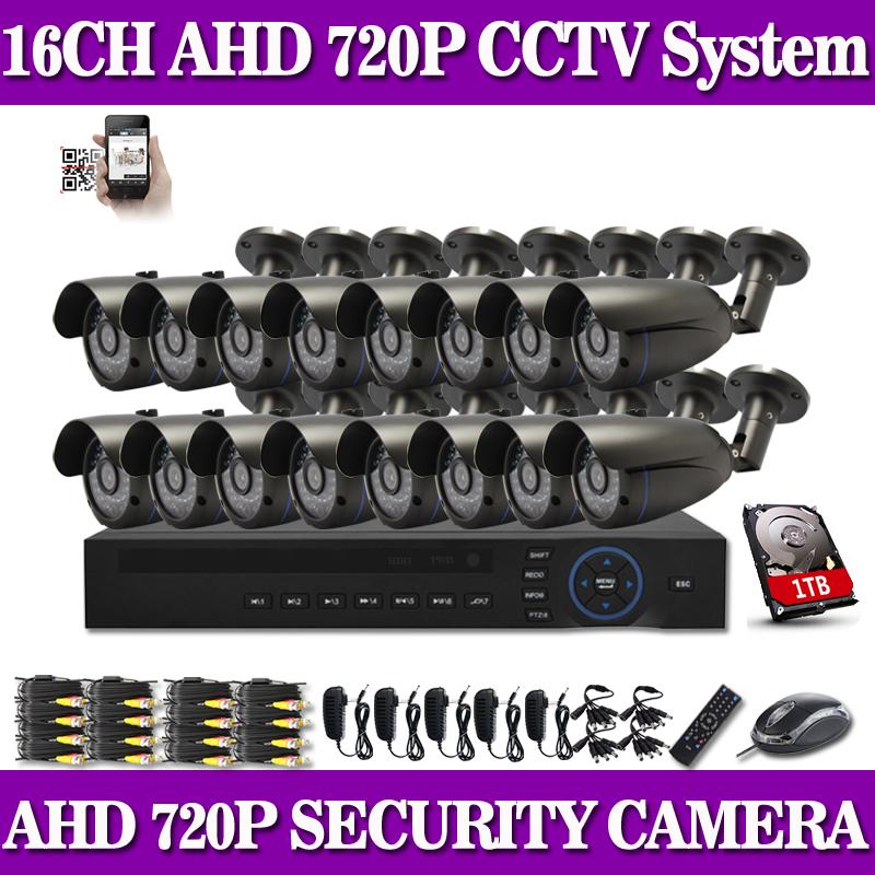 16pcs 1.0MP HD1200TVL security bullet camera CCTV System Kit 16channel AHD Full 720P Video Surveillance 1080P DVR NVR system<br><br>Aliexpress