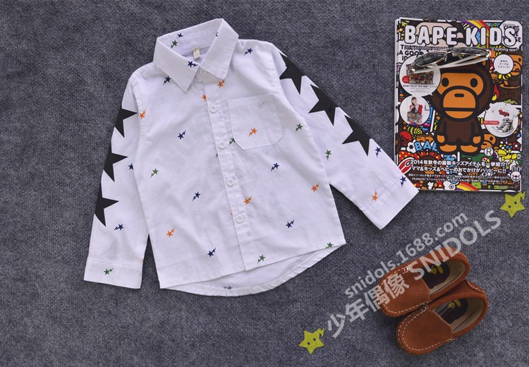 Fashion new autumn  European children long sleeve shirt Baby cotton star cartoon pattern for boy girl tops kid blouse