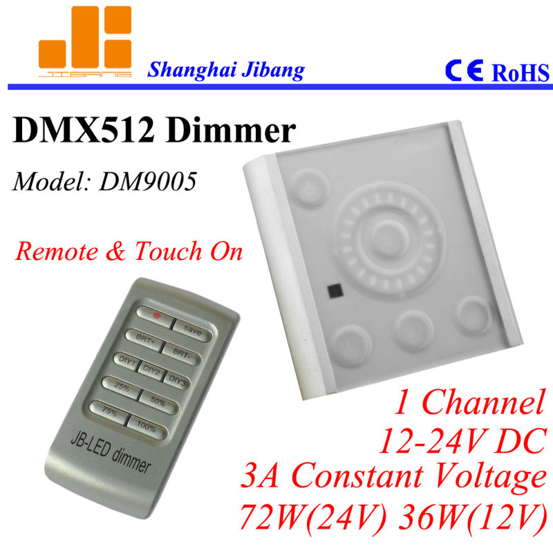 Free Shipping Touch on DMX controller with Remote, DMX dimmer, Wall touch panel, 1channel/12V-24V/3A/72W pn:DM9005(China (Mainland))