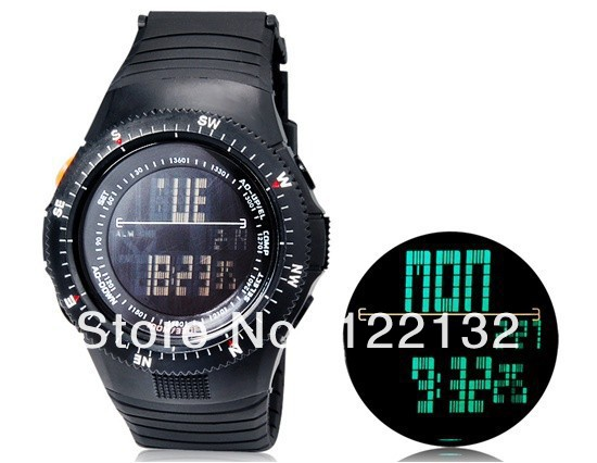 free shipping mens 5ATM Water Resistant Digital Sports Mens Watch EL back Light with Soft Plastic Strap (Black)<br><br>Aliexpress