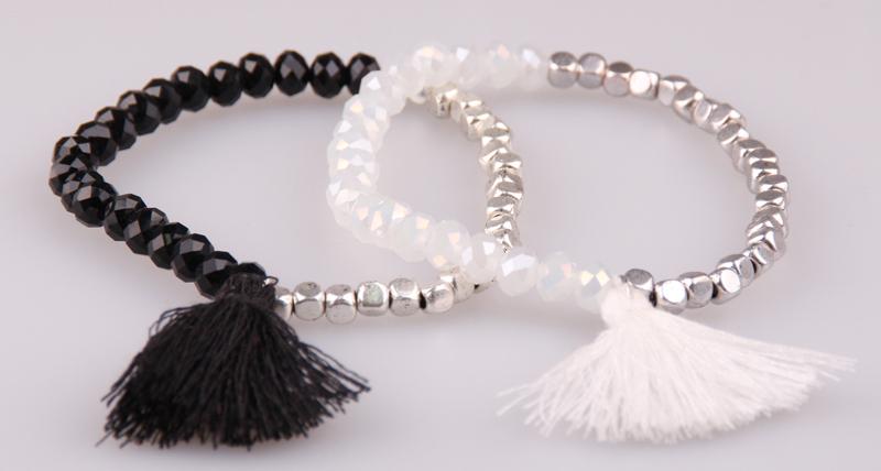 half square Beads crystal glass beads bracelet matching tassel charm metal - Jinhong Fashion Accessory store