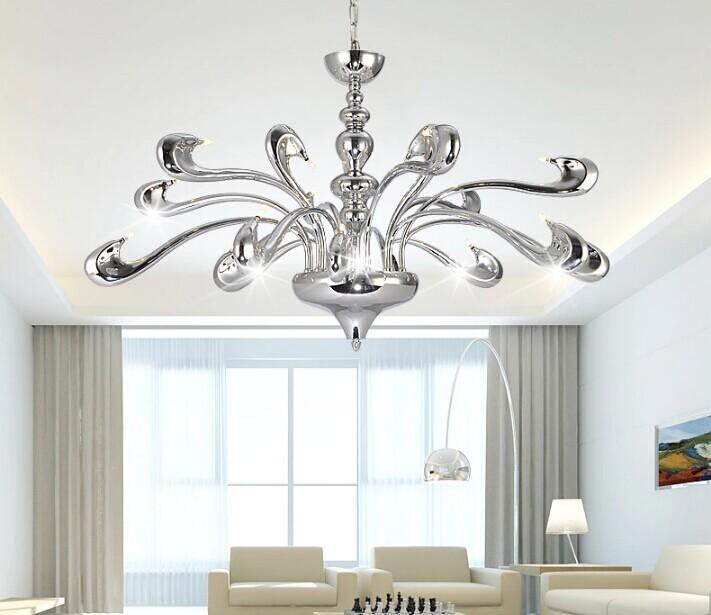 Купить 18 Глав Европейских мода LED люстра современные фары минималистский гостиная/спальня villaHotel Ресторан Кристалл Освещение