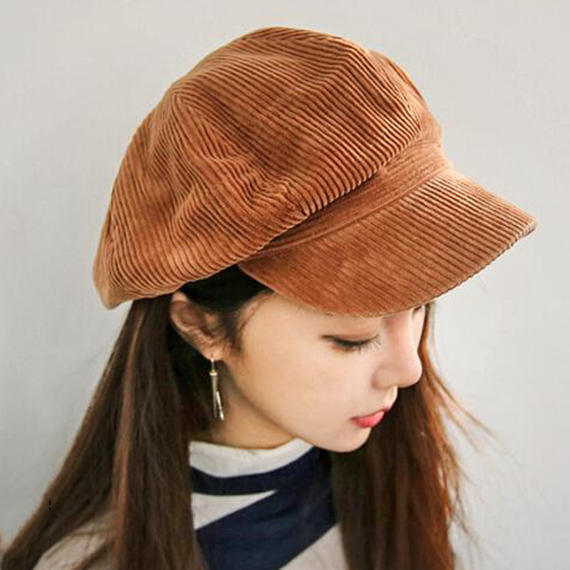 Corduroy anise newsboy cap Retro literary female snapback cap Leisure hat accessories
