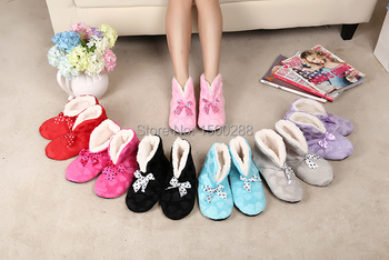Free Shipping 2014 1Pair home interior boots, love bows indoor boots, soft bottom soft surface indoor shoes