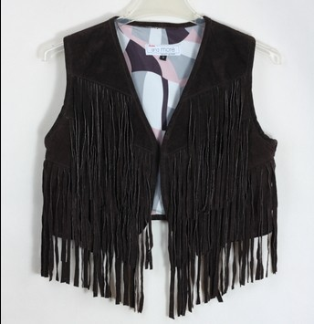 2014 new genuine leather vest women brand jacket breasted tassel price L-178 - K fashion show co.,Ltd store