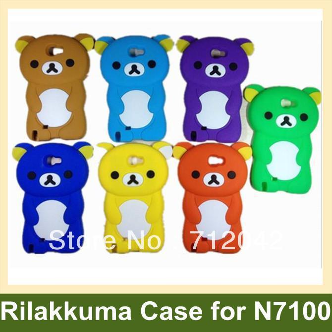 Lovely 3D Rilakkuma Pattern Case for N7100 Soft Silicone Cover Case for Samsung Galaxy Note2 N7100 10pcs/lot Free Shipping