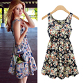 2016 New Fashion Design Women Flower Prints Casual Summer Spring Dress New Lady Lace European Party