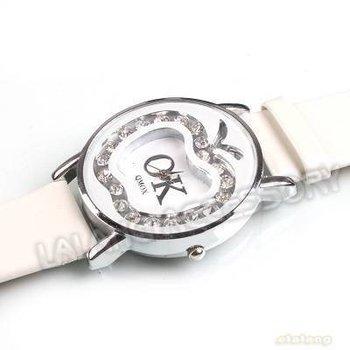 3x New Design Women Dress Watch with Box Quatrz White Leather Watchband Apple Rhinestone Rhodium Plated Wristwatch 24cm 403067