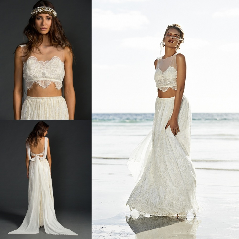 sexy backless lace beach wedding dresses fashionable 2 two With two piece beach wedding dress