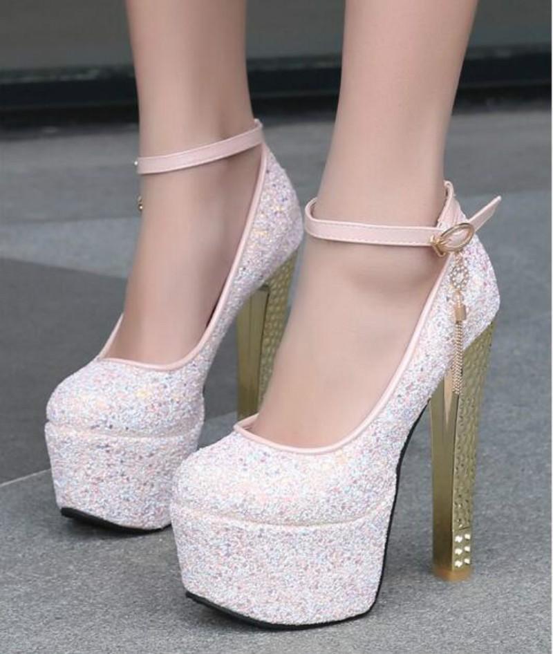 ซื้อ ฤดูใบไม้ร่วงกันน้ำเลื่อม15เซนติเมตรรองเท้าส้นสูงหนาหนาส้นสูงสีชมพูรองเท้าไนท์คลับ