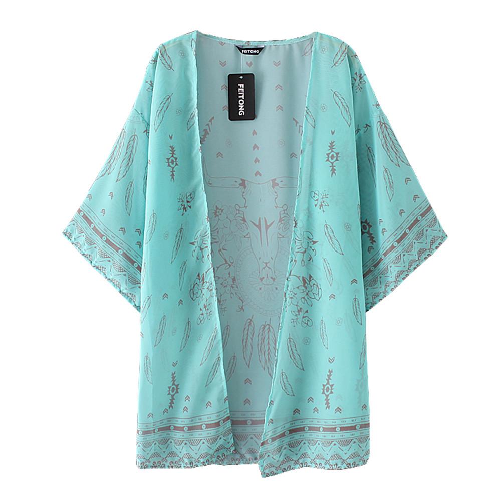 2016 Mulheres Da Moda Verão Blusa de Chiffon Praia Boho Kimono Cardigan Floral Impresso Manga Comprida Casual Solto Longa Praia Cover up