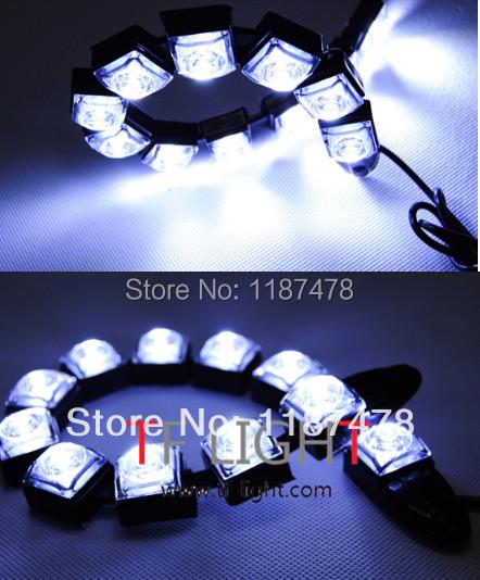 2X 12V Universal 12W Bendable 12 LED Waterproof Flexible DRL Daytime Running Light Fog Warning Lamp DIY EAGLE EYE - TF light factory store
