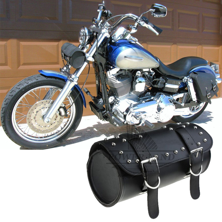 Free Shipping Brand New PU Black Front Fork Tool Bag Luggage Saddle Bag For Harley Chopper Bobber Cruiser Dyna Softail Sportster(China (Mainland))