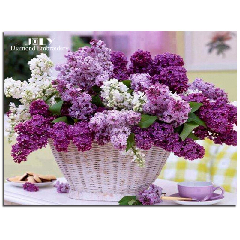 [ July ] [ Super deals ] Diamond embroidery, Diamond painting cross stitch sets Purple flower baskets diamond mosaic rhinestones(China (Mainland))