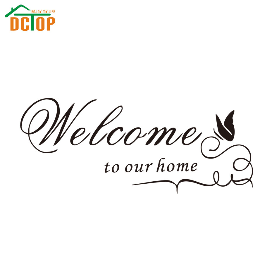 DCTOP Welcome To Our Home Quote Wall Decals Decorative Adhesive Removable Vinyl Wall Stickers(China (Mainland))