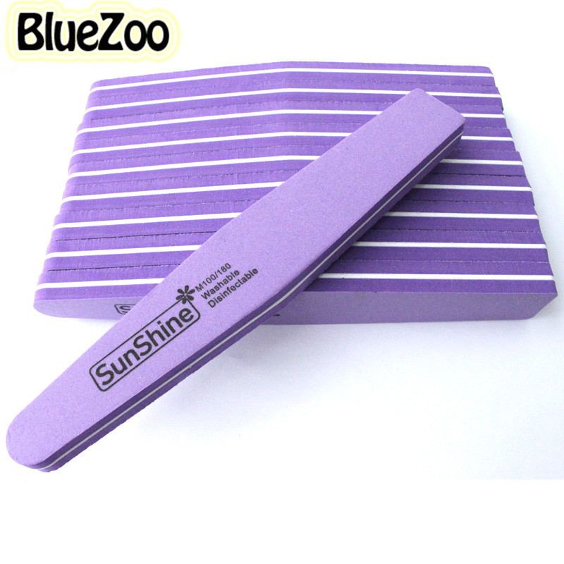 BlueZoo 10pcs Nail File Buffer Nail Files Diamond Head Sanding Washable Nail Manicure Tool Double Side Fancy Accessories Purple