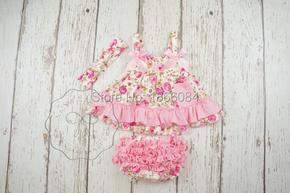 Floral swing top set baby toddler girl outfits summer clothes shabby chic birthday outfit - Shabby chic outfit ideas ...