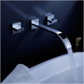 Wall Mounted Chrome Bathroom Tap Bathtub Faucet 3Pcs set 2 handles PA-08(China (Mainland))
