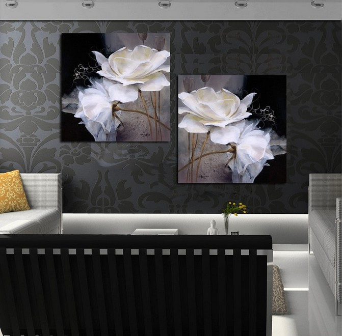 50X50CM Modern Wall Painting White Flowers Home Decorative Living Room Art Picture Paint Canvas Prints Wedding Decoration - GVS-Luxury Visual Arts store