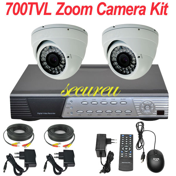 2ch cctv kit thermal security alarm audio system installation ir night vision indoor dome camera 4CH full D1 DVR video recorder(China (Mainland))