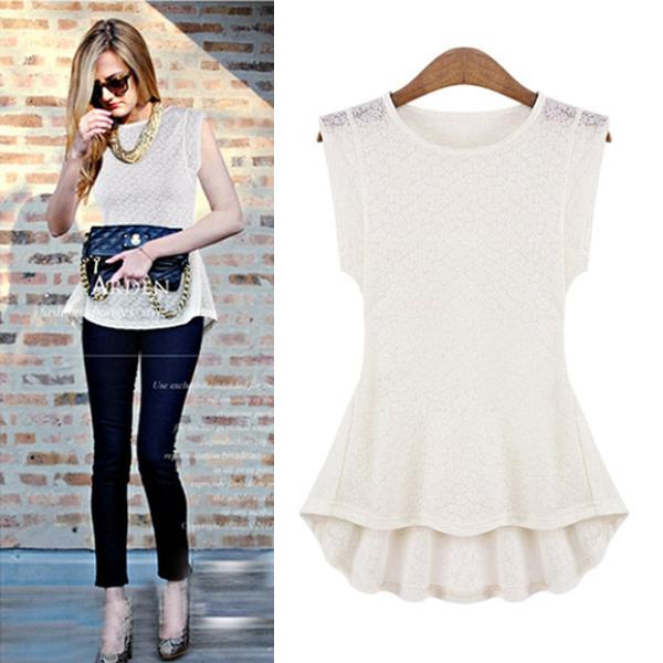 2015 Fashion Femininas Summer Sleeveless Cotton Blend Women's Slim Shirts Black White European High Street Blouse nz184 - F-TIME WATCH STORE store