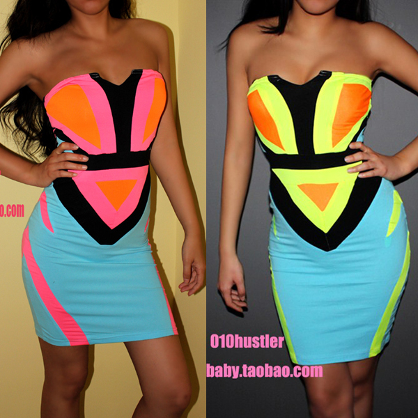 2014 NEW Sexy dress Women  Fashion sexy dress neon color block geometry patchwork pattern slim tube top one-piece dress