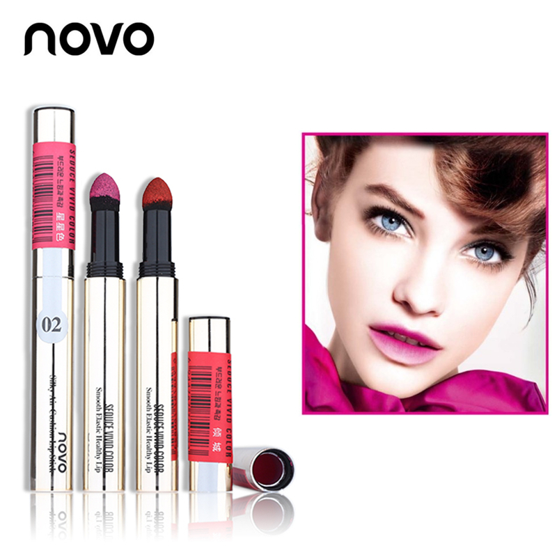 NOVO Lipstick Sexy Silky Powder Cream Air Cushion Lip Stick Long-lasting Waterproof Lip Gloss Smooth Elastic Lip Makeup Cosmetic