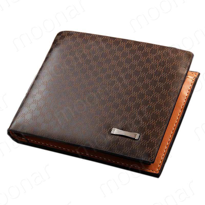 1 Piece Free Shipping 2015 New Fashion Genuine + PU Leather Plaid Wallet Male Bag Brand Men Wallets Handbag Purse #5(China (Mainland))