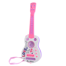 Surwish Simulation 4 String Flash Mini Guitar Kids Musical Instruments Educational Toy 928B - Pink(China)