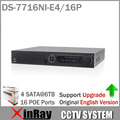 English Version DS 7716NI E4 16P 16CH NVR with 16 POE Interface IP Camera Network Video