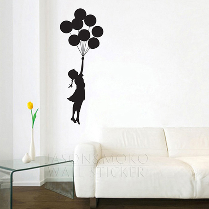 Art banksy design ballon girl flying dress graphic wall for Designer mural wallpaper