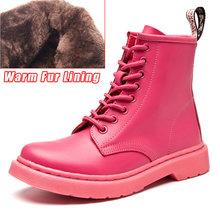 Moda yarım çizmeler Kadın Botları Için Severler Hakiki Deri Martin Çizmeler Kadınlar Için Kış çizmeler kadın ayakkabıları Patik Artı Boyutu 43(China)