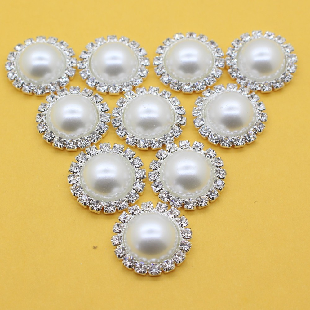 30pcs 20mm Round Silver Plated Buckle Alloy Crystal Rhinestone Pearl Button For Baby Girl Jewelry Hair Accessory