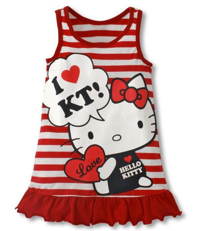 5Pcs/Lot Fashion 2016 Baby Girls Hello Kitty Dress Girl Red Pink Summer Stripe KT Cat Dress Girl's Casual Sleeveless Dress 26C(China (Mainland))