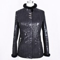 real natural Genuine Leather Mink fur trim autumn python printing Clothing factory direct supplier women s