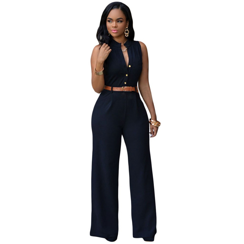 Luxury Fashion Big Women Sleeveless Maxi Overalls Belted Wide Leg Jumpsuit