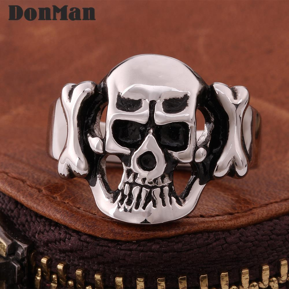 Cool Skull Rings Men Rock Statement Vintage Punk Styles 316L Stainless Steel Ring Fashion Jewelry - Donman store
