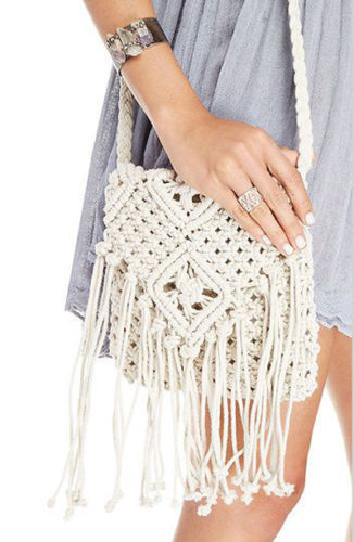 Crochet Fringed Messenger Bags Tassels Cross Bag Beach Bohemian Tassel ...
