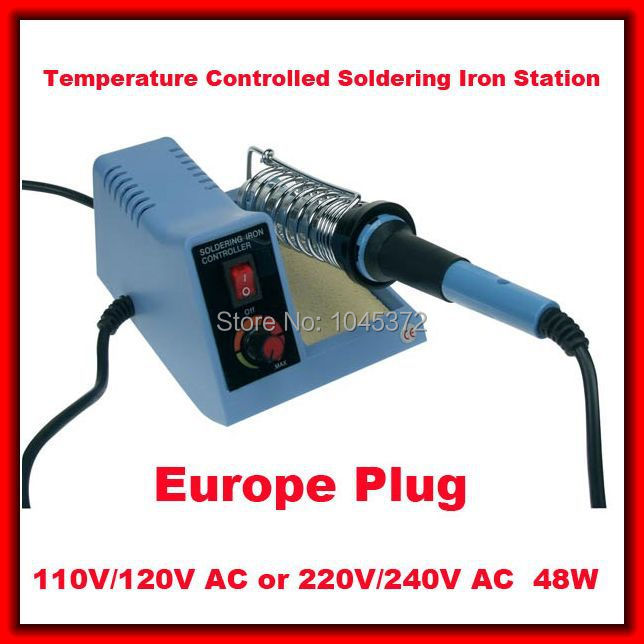 Europe plug 220V Temperature Controlled solder Soldering Iron Station 48W Red