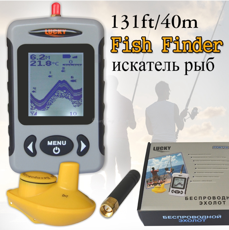 Lucky FFW-718 Wireless Sonar Fish Finder Portable Russian English Menu River Lake Sea Update Contour 131ft / 40M Fisnfinder(China (Mainland))