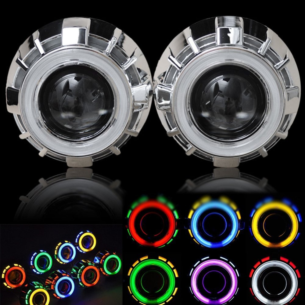 3.0 inch 35W HID Bi-xenon projector lens Headlight KIT with Double CCFL Halo Angel eye rings For H1 H4 H7 Bulb