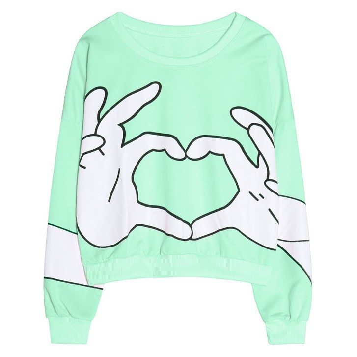 [Magic] funny gestures Short Loose style women's cotton hoodies 2014 hot casual sweatshirts 3 colors WY0351 - magic clothing store
