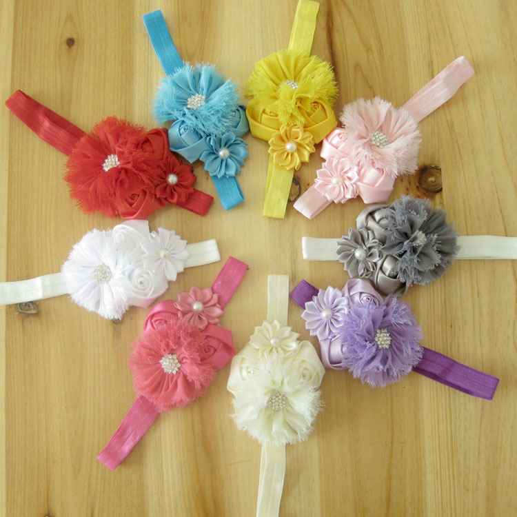 Free Shipping 9 pcs/ lot 2014 Elastic Headbands with rhinestone rose flower baby girls hairbands infant Christmas gift headwear(China (Mainland))