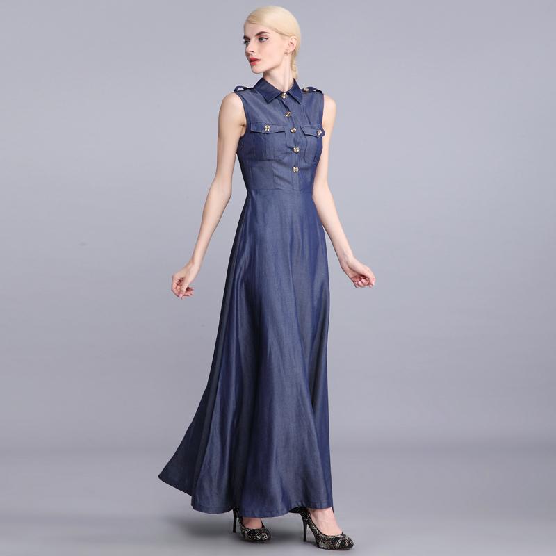 Perfect StyleWomenEmbroideryPocketJeanDressFemaleladyDenimDresses